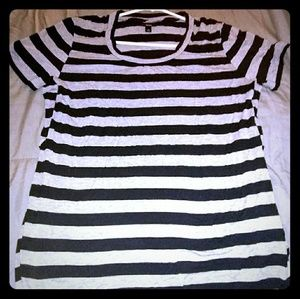 Mossimo Black and gray stripe blouse XL